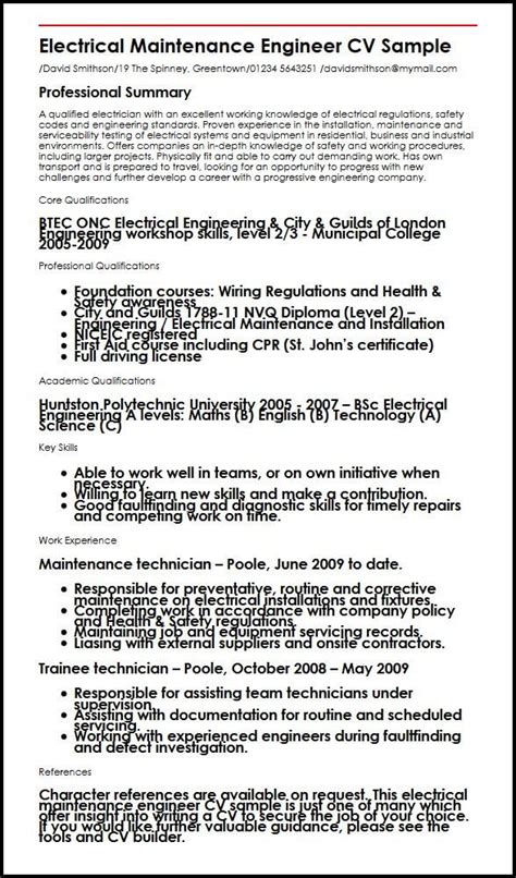 Electrical Maintenance Engineer Cv Sample  Myperfectcv. Resume For Dishwasher. Automotive Service Manager Resume. Objective In Resume For Experienced Software Engineer. Proper Format Of Resume. Software Quality Analyst Resume. Best Executive Resume Examples. Educational Resume Format. Sales Resume Objective Examples