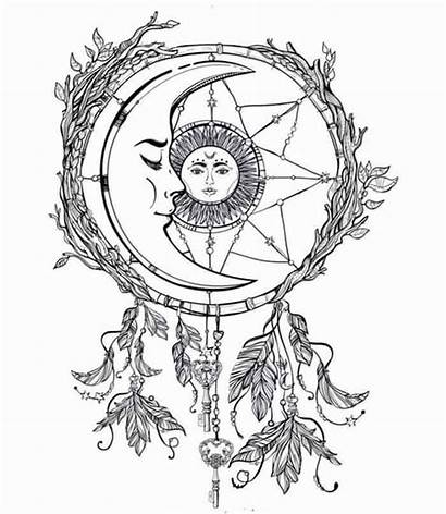 Tattoo Moon Stars Coloring Crescent Dreamcatcher Sun
