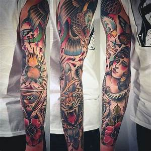 60 Traditional Tattoo Sleeve Designs For Men - Old School ...