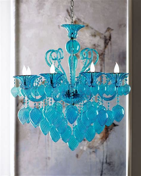 Aqua Chandelier by Vetro 8 Light 36 Quot Aqua Blown Glass Chianti