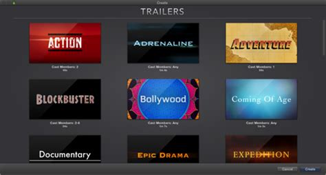 imovie trailer templates imovie 2013 create a trailer