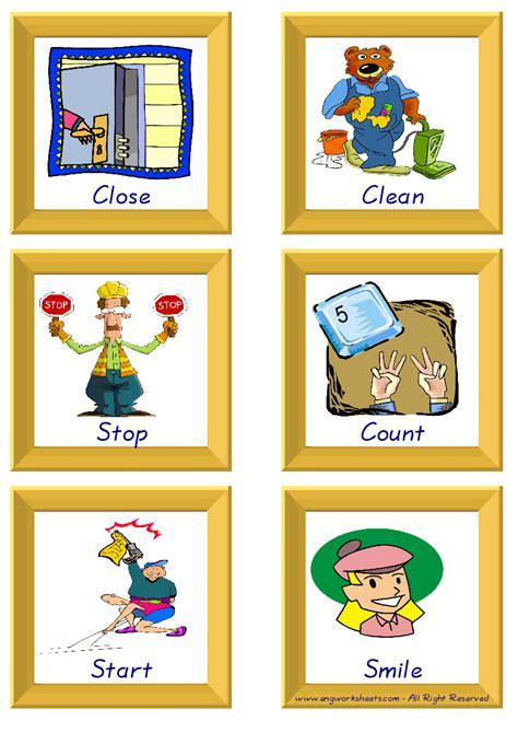 action verbs esl printable flash cards worksheets