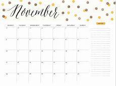 Cute November 2018 Calendar Printable Calendar 2018