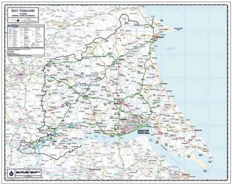 east yorkshire county map paper laminated  mounted