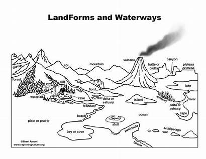 Coloring Landforms Waterways Exploringnature Pdf Wonderful Db