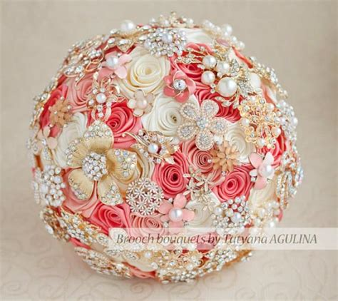 Brooch Bouquet Coral Ivory And Gold Wedding Brooch