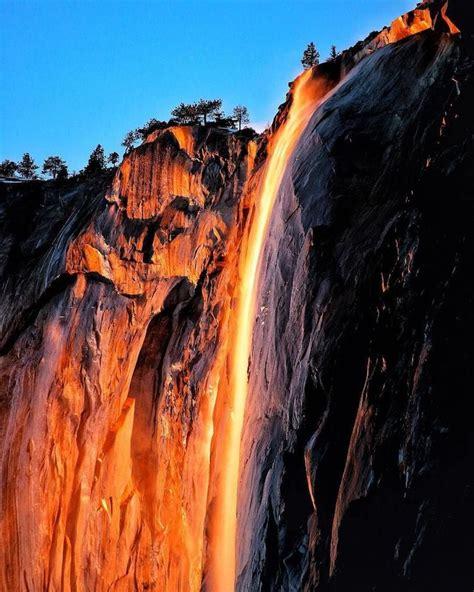 Rare Yosemite Firefall Phenomenon Ignites Waterfall