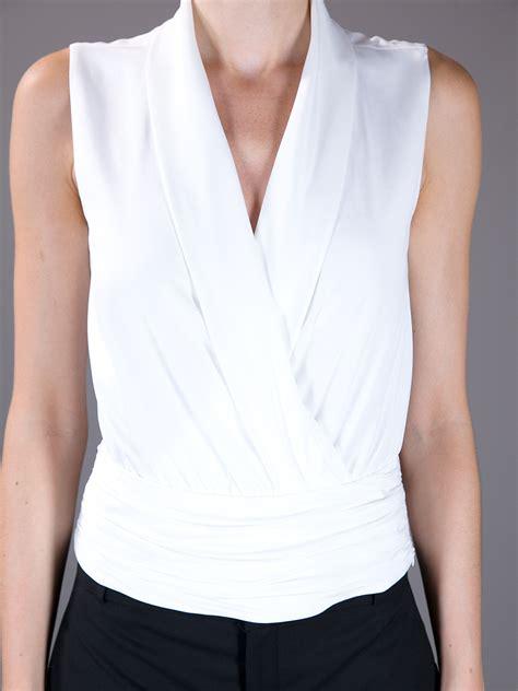 emporio armani sleeveless crossover blouse  white lyst