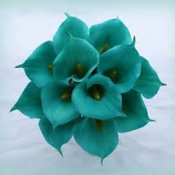 bridal registries search teal calla lilie arrangement