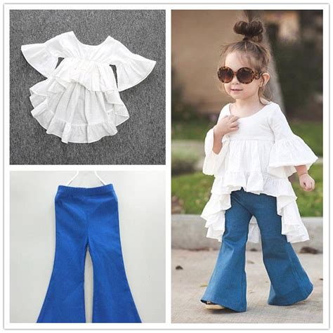 2pc Toddler Kids Baby Girls Outfits Cotton tops+Denim Flared pants Clothes Sets | eBay