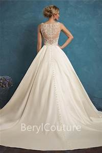 ball gown v neck ivory satin pearl beaded wedding dress With ball gown wedding dress with pockets