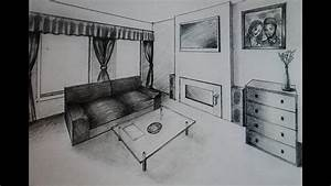 How to draw - Living room with fireplace - Two point ...