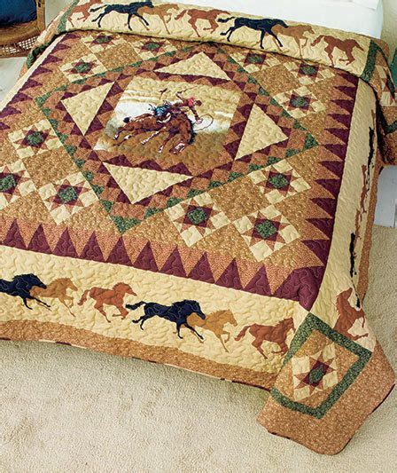 rustic bedroom country cowboy horses king size quilt rustic