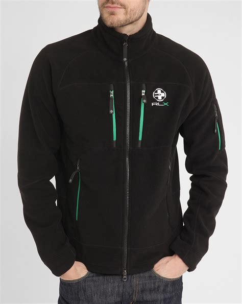 polo ralph black multi zip green contrast fleece jacket in black for lyst