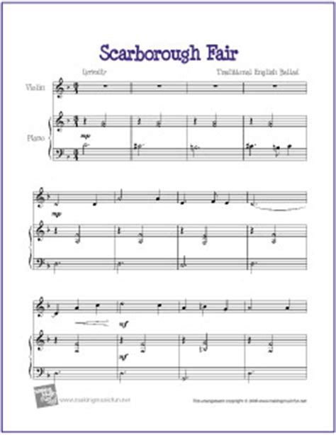 Scarborough Fair  Free Violin Sheet Music (digital Print