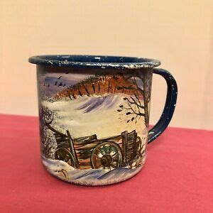 Free coffee mug / cup mockup to showcase your design with a realistic look. 1 Blue Speckled Enamel Hand painted Wagon Tin Metal Coffee/Tea/Soup Mug/Cup 1989 | eBay