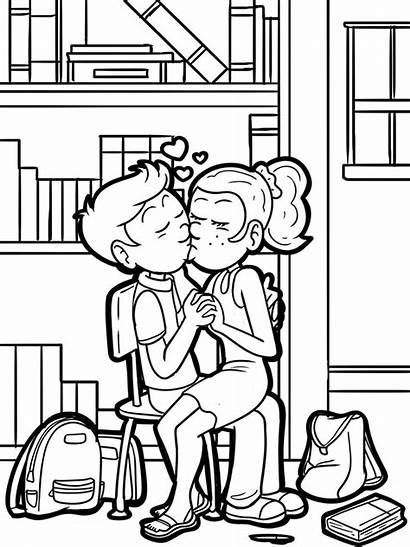 Kuss Coloring Kiss Malvorlage Erster Malvorlagen Liebe