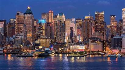 Skyline Night Nyc Manhattan Window Tower Water