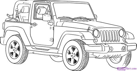 How To Draw A Jeep Wrangler Step By Step Suvs