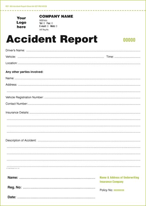 templates  accident report book  vehicle condition