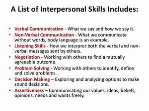 Skills in interpersonal relationships