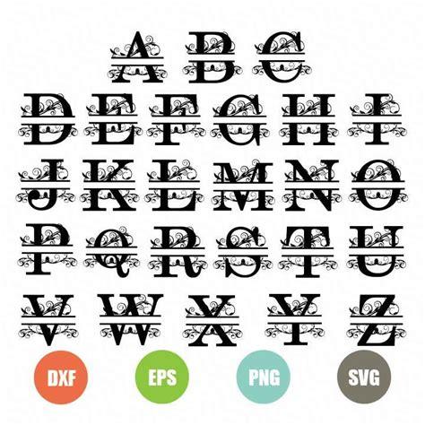 split letters svg topfreedesigns  monogram fonts cricut monogram