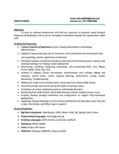 sle resume for hadoop fresher resume ixiplay free