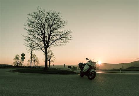 Sunset, Sunny, Motorcycle, Street, Road, Tree, Streets