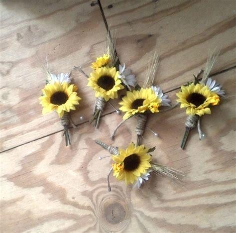 set   boutonnieres sunflower woodland barn wedding