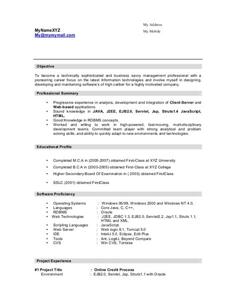 J2ee Resume  Resume Ideas