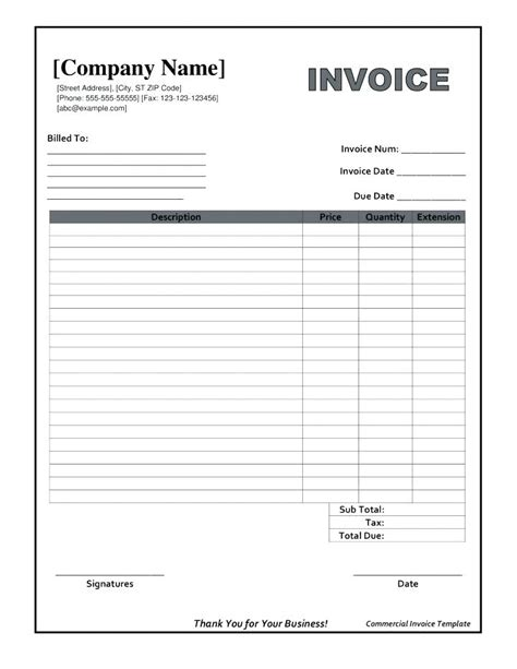 free blank invoice template invoice forms printable images