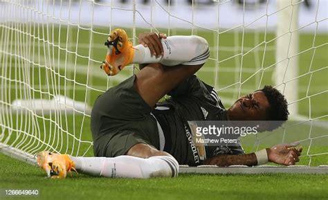 Marcus Rashford of Manchester United lies injured during ...