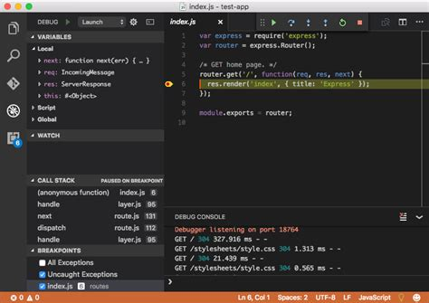 interactive debugging with node js