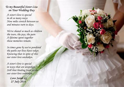 personalised   sister   wedding day poem ideal