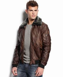 Lyst - Guess Faux Leather Aviator Jacket in Brown for Men