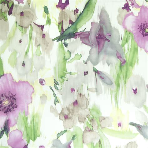 Opal Purple Floral Print Upholstery Fabric