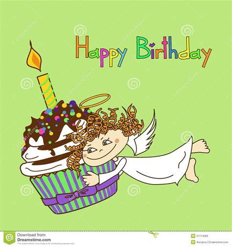 Card For Birthday With Angel And Cupcake Royalty Free