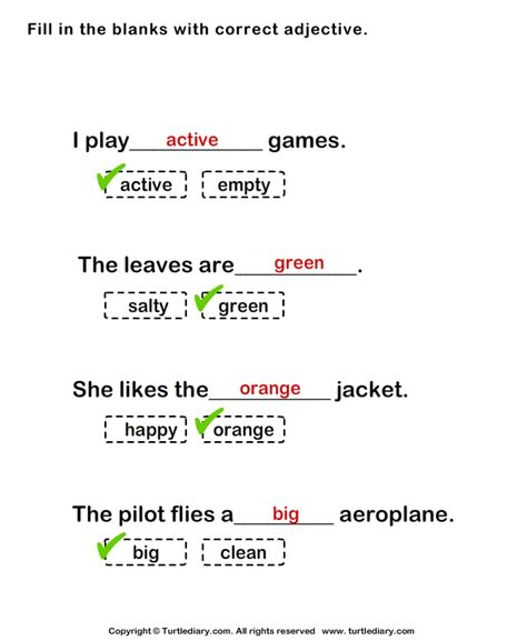 fill   blank  correct adjective worksheet