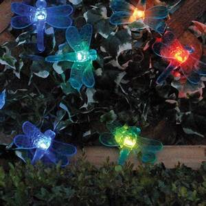Dragonfly Patio Lights String Smart Solar Color Changing Light String 20 Pieces