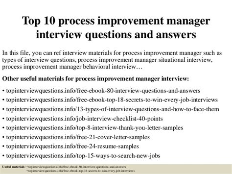 top 10 process improvement manager questions and