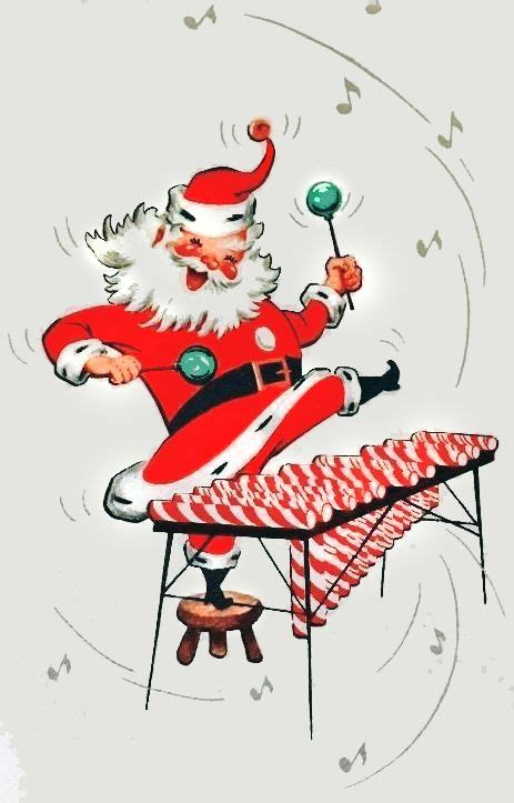 happy santa playing  xylophone   candy canes