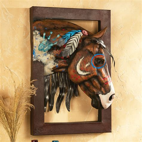 painted warrior horse   wall sculpture