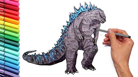godzilla coloring pages  kids  learn colors draw