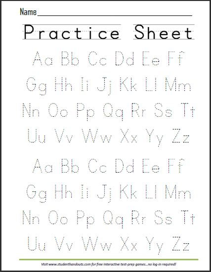 Abcs Dashed Letters Alphabet Handwriting Practice Worksheet  Free To Print (pdf File