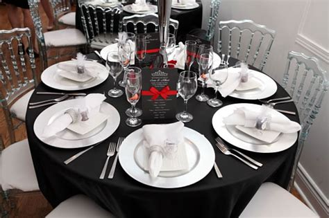 black and white dinner table setting elegant weddings toronto table settings