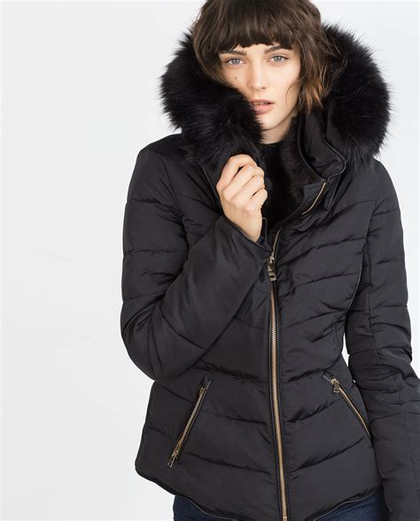 Zara Quilted Coat With Detachable Hood in Black | Lyst
