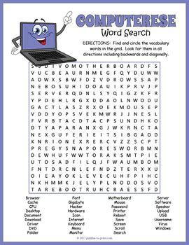 computer terms word search  puzzles  print tpt