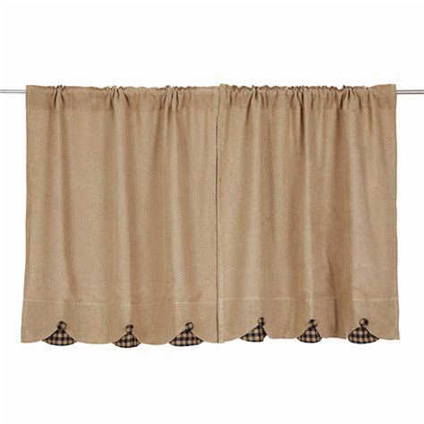 Burlap w/ Scallop Check Tier Curtains (pair)   www