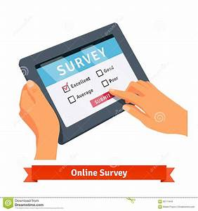 Online Survey On A Tablet Stock Vector
