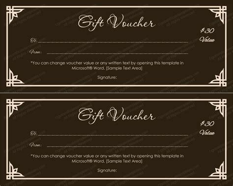 choco color gift voucher template  word